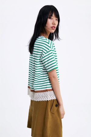 Zara Striped t-shirt with lace
