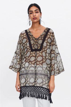 Zara Printed kaftan with metallic thread