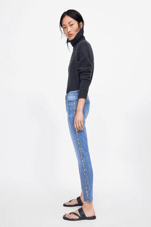 Zara Z1975 skinny jeans with glittery side taping