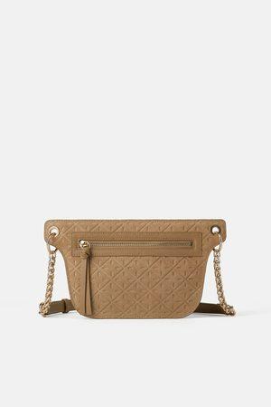 Zara Raised leather crossbody belt bag