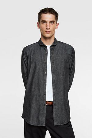 Zara Denim shirt with peter pan collar