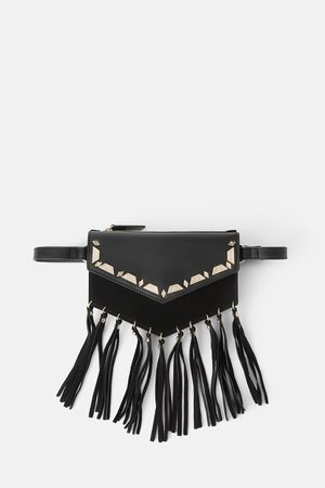 Zara Leather crossbody belt bag with tassels