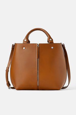 Zara Leather tote bag with zip detail