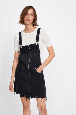 Zara Zipped denim pinafore dress