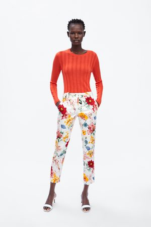 Zara Floral print chino trousers