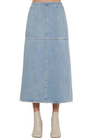 MM6 MAISON MARGIELA A Shape Cotton Denim Midi Skirt