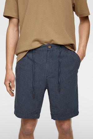 Zara Striped rustic bermuda shorts