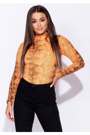 Parisian Naiset Bodyt & All-In-One-Setit - Snake Print High Neck Bodysuit In Neon Orange