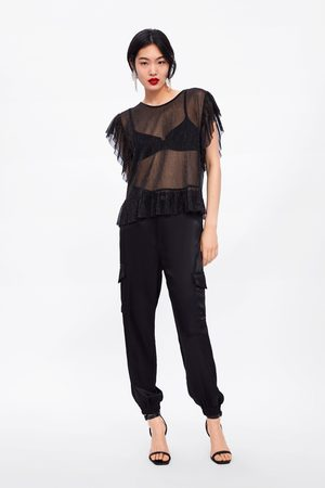 Zara T-shirt with frill and shimmer