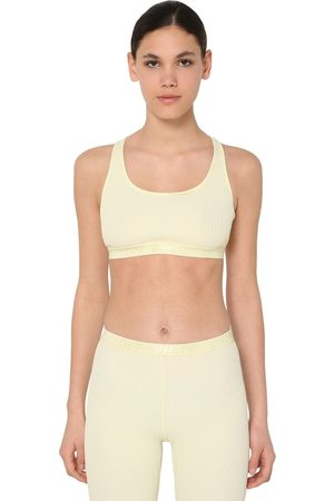 OFF-WHITE Logo Band Ribbed Jersey Bra Top