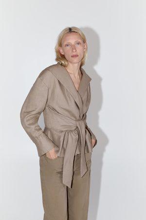 Zara Belted linen blouse