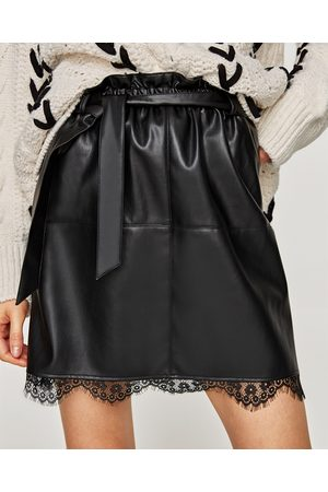 Zara FAUX LEATHER SKIRT WITH LACE DETAIL