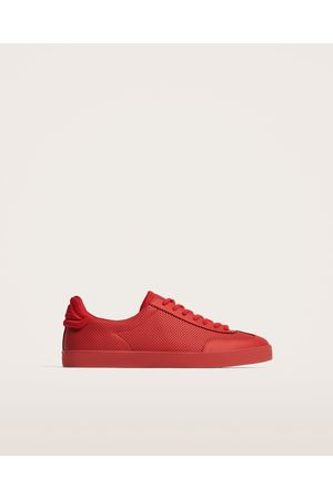 Zara RED MICRO-PERFORATED SNEAKERS