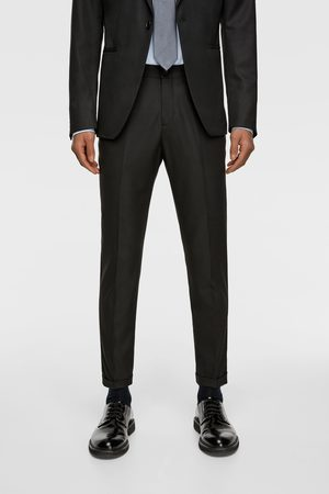 Zara TEXTURED WEAVE CROPPED SUIT TROUSERS