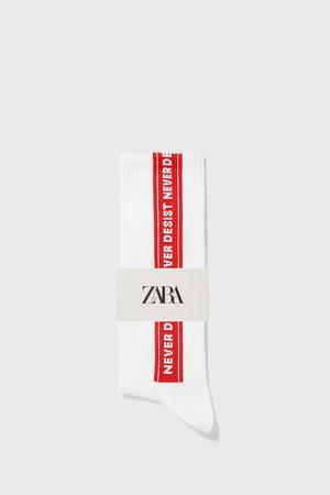 Zara Jacquard slogan socks