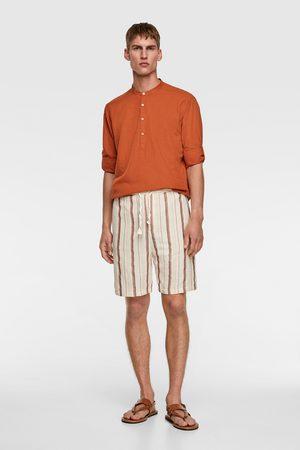 Zara Striped textured bermuda shorts