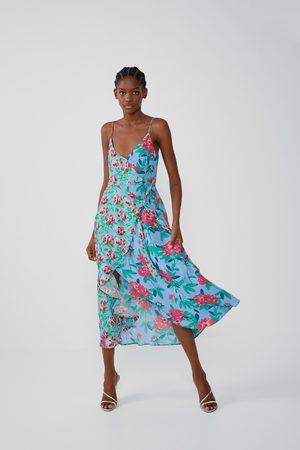 Zara Naiset Epäsymmetriset Mekot - Printed dress with asymmetric hem