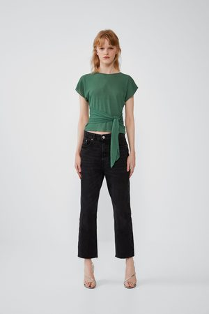 Zara Knotted textured weave t-shirt