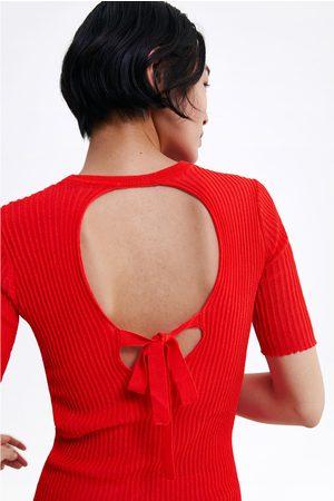 Zara Naiset T-paidat - T-shirt with back opening