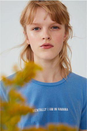 Zara Naiset T-paidat - Faded-effect t-shirt with slogan