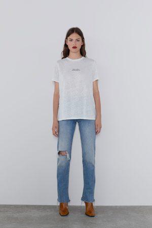 Zara Linen t-shirt with slogan
