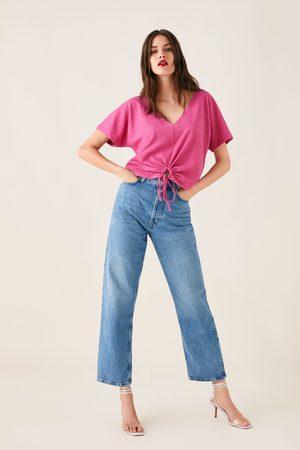 Zara Textured t-shirt with knot