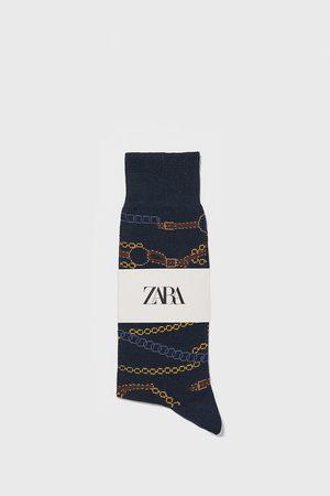 Zara Chain print mercerised cotton socks