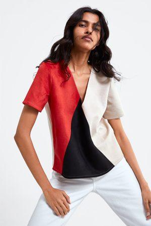 Zara Faux suede colour block top