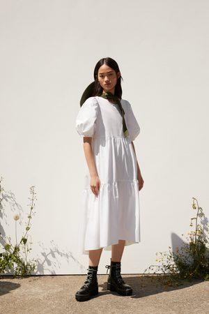 Zara Naiset Epäsymmetriset Mekot - Asymmetric poplin dress