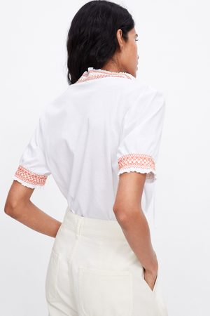 Zara Naiset T-paidat - T-shirt with contrast and elastics