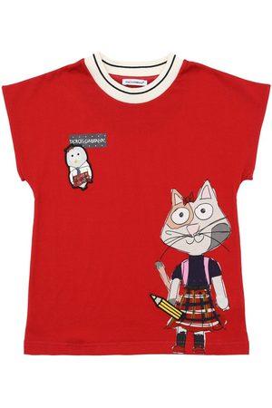 Dolce & Gabbana Printed Cotton Jersey T-shirt W/ Patch