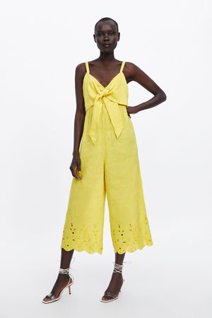 Zara Embroidered jumpsuit with tie