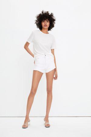 Zara Naiset Shortsit - Hi-rise denim shorts