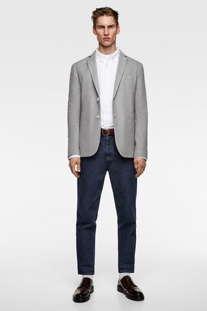 Zara Miehet Bleiserit - Textured weave blazer with elbow patches