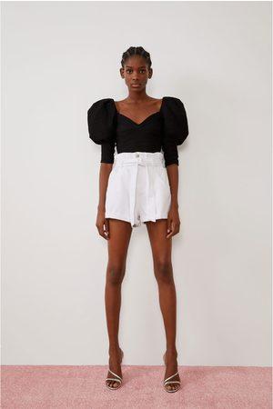 Zara Denim paperbag bermuda shorts
