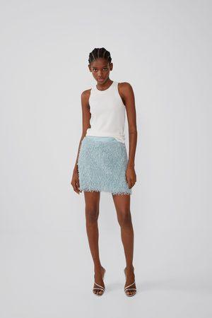 Zara Feather-effect mini skirt