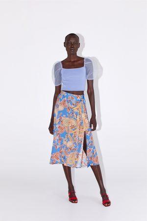 Zara Printed skirt with tied belt