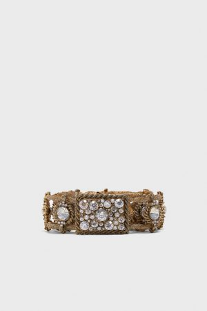 Zara Bejewelled metal belt