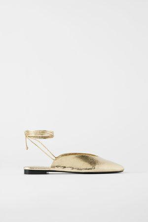 Zara Tied metallic ballerinas