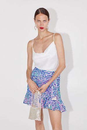 Zara Sequinned mini skirt with ruffle trim