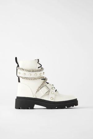 Zara Flat leather biker ankle boots