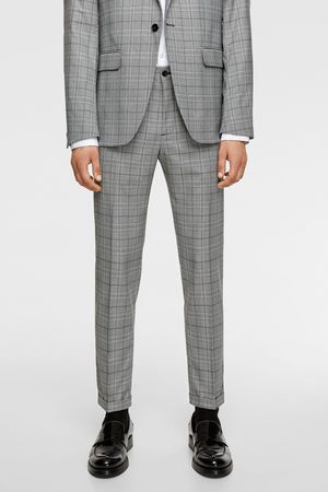 Zara Textured check suit trousers