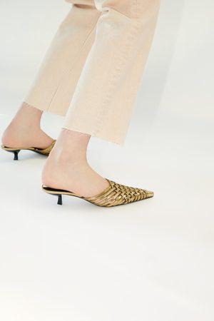 Zara Braided metallic heeled mules