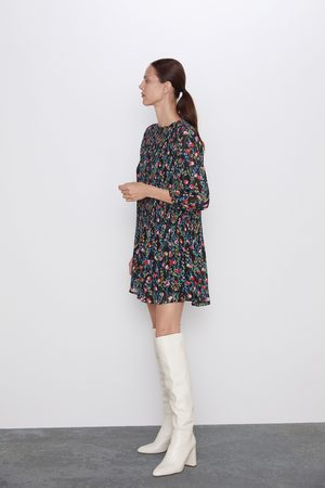 Zara Printed dress with pleated skirt