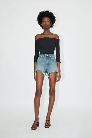 Zara Hi-rise ripped denim shorts