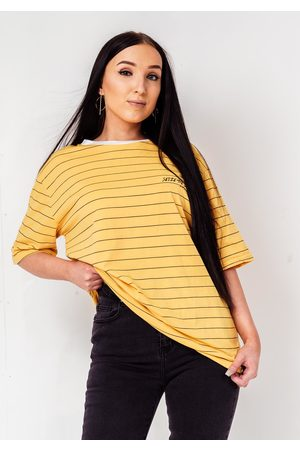Fiorellashop Striped 90s Printed Skater Oversize T-Shirt In Yellow