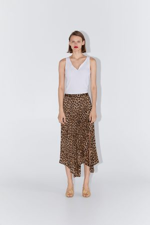 Zara Pleated animal print skirt