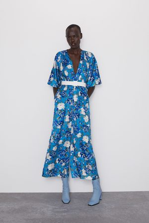 Zara Floral print jumpsuit with tie belt