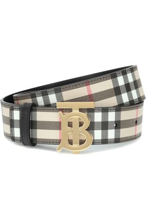 Burberry Naiset Vyöt - TB Check leather-trimmed belt
