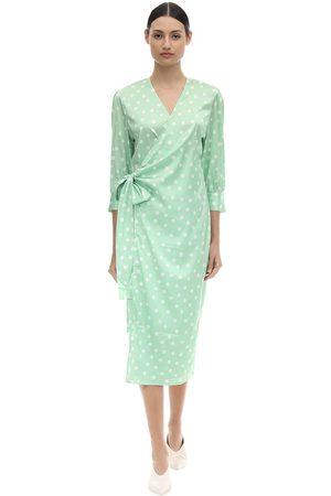 Aéryne Cowry Printed Satin Wrap Dress